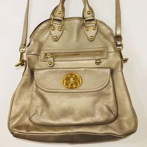 Emma Fox Champagne Classic Foldover leather bag 